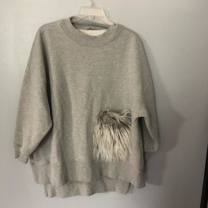 Zara fuzzy pocket oversized sweatshirt S